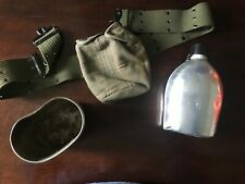Vintage WWII Canteen Cover Cup Belt US Army