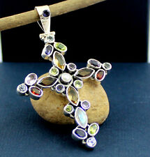 Solid 925 Sterling Silver Multi Gemstone Cross Sign 2.4inch Pendant 10.9g M3P009