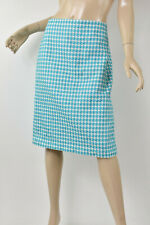 TALBOTS Aqua Blue & White Houndstooth Cotton Jacquard Pencil Skirt L 12