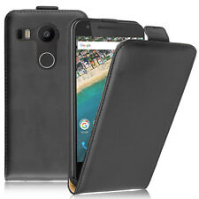 Etui Coque Housse PU Vrai Rabat Flip Cover NOIR pour LG Nexus 5X