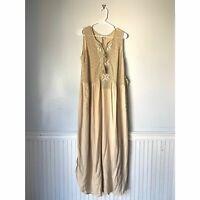 Aratta Silent Journey Womens Size S BOHO Cream Open Knit Midi Tassel Flowy Dress