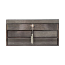 Mele & Co. Claudia Locking Wooden Jewelry Chest in Oceanside Grey Finish