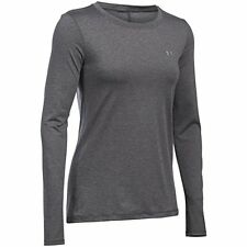 Under Armour Women's HeatGear Long Sleeve Carbon Heather/Metallic US Size M NWT