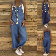 Mode Femme Combinaison en Jean Loisir Loose Poche Bleu Sans Manche Pantalon Plus