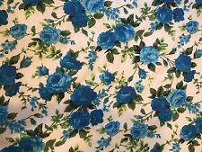 Shabby Chic Roses Blue 100% Cotton. Beautiful And Delicate . Good Quality. BTY