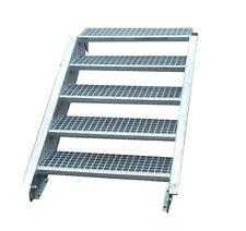 Stahltreppe Treppe 5 Stufen-Stufenbreite 110cm / Geschosshöhe 70-105cm verzinkt