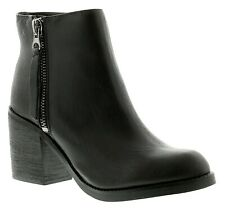 Block Heeled Boots Size 5 Wide Fit Black Leather Ankle Mid Heel Ladies NEW LOOK