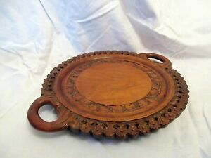 A BEAUTIFUL HAND CARVED VINTAGE SERVING TRAY