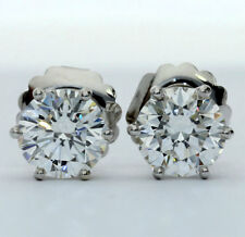 GIA cert diamond stud earrings 14K white gold GVS2 round brilliant 4.11CT lively
