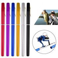 Mini Telescopic Fishing Rods Portable Pen Shape Aluminum Alloy Pocket Reel Poles