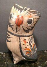 Vtg Mexican Tonala Pottery Owl Bird Folk Art Hand-Painted Sculpture Ceramic