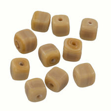 Handmade Cube Glass Bead Shiny Opaque Light Brown 8mm Pack of 10 (Q102/2)