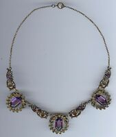 1930'S VINTAGE CZECH ORNATE BRASS PURPLE FACETED GLASS AND FLOWERS NECKLACE*