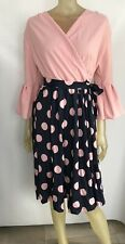 Fashion Dress Size UK 14 Pink Blue Polka Dot Midi Flute Sleeve Wrap Wedding