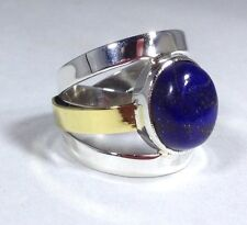 Lapis lazuli oval ring, solid Sterling Silver, uk size Q, new. Slight defect.