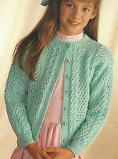 "Girls Cardigan Knitting Pattern eyelet and cable  22-30""  4ply 515"