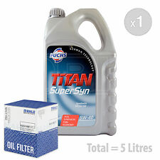 Engine Oil and Filter Service Kit 5 LITRES Fuchs TITAN SUPERSYN 5W-40 5L