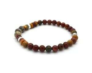 Mens Beads Bracelet Picasso Jasper and Coral Fossil 925 Sterling Silver Handmade