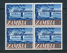 ZAMBIA 1968 DEFINITIVE SG139 BLOCK OF 4 MNH