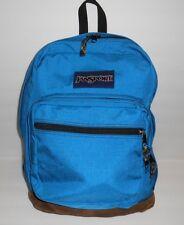 Jansport Brown Suede Leather Bottom Blue Canvas Backpack Book School Bag 18 x 14