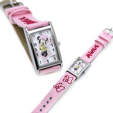 Disney Minnie Mouse Wrist Watch Square Face with Pink Denim Jean Strap
