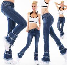 Damen Jeans Hose Bootcut Schlag FlareCut Schlaghose Stretch Denim Fransen Nieten