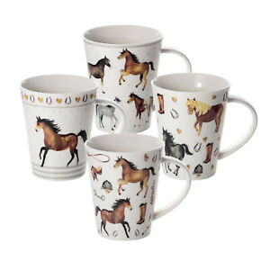 Horse Mugs Cups x 4 for Tea Coffee Porcelain China Mug Gift Set for Horse Lovers