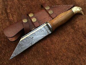 Custom Handmade Damascus Steel Crow Headed Seax Knife,Brass Inaly, New Edition