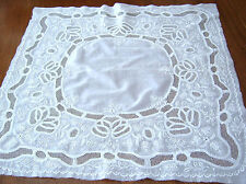 Antique AYRSHIRE/ WHITE WORK Hand Embroidery 21 X 22 Square Quilting/ Normandy