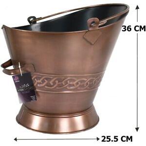 Copper Bucket Coal Log Fire Ash Scuttle Hod Fireside Galvanised Steel 37 cm