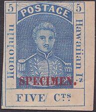 Hawaii - 1868 - 5 Cents Blue King Hamehameha III Specimen # 10S with Plate Crack