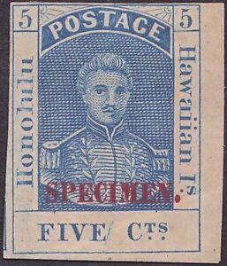 Hawaii - 1868 - 5 Cents Blue Kamehameha III Specimen # 10S Mint w Plate Variety