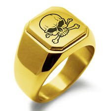 Stainless Steel Pirate Skull & Crossbones Flat Top Biker Style Polished Ring