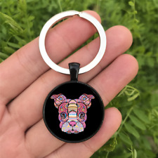 Mosaic Boston Terrier Dome Keyring Glass Cabochon Keychain Purse/Bag Charm