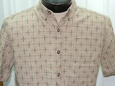Men's MED The Territory Ahead Short Sleeve Shirt 100% Cotton Beige Plaid Red/Grn