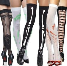 Ladies Sexy Zombie Skeleton Bloody Slash Halloween Fancy Dress Costume Stockings