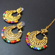 Women Bridal Designer Jewelley Head Maang Tikka with Dangles Gold Jewelry Gift