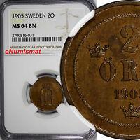 Sweden Oscar II 1905 2 Ore NGC MS64 BN LAST YEAR TYPE 1 GRADED HIGHEST KM# 746