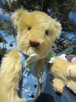 """VINTAGE MOHAIR TEDDY BEAR SUNNY YELLOW VEST BOWTIE ARTIST VERMONT 13"""" PAW SIGNED"""