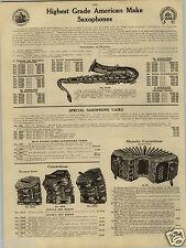 1924 PAPER AD Climax Chicago Sax Saxophone Bass Baritone Soprano Concertinas