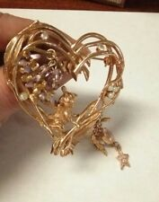 Beautiful Large Gold Tone Kirks Folly Fairy Heart AB Dangling Charm Brooch