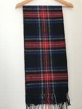 Scarf Black Red Blue Check Tassle Wolly Winter <JJ901