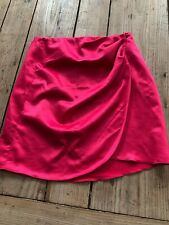 Bastante en rosa!!! Envoltura De Satén Sedoso Asos Rosa Brillante Mini Falda, Talla 8
