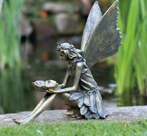 Garden Ornament Sitting Fairy Sculpture Antique Bronzed finish 30cm tall