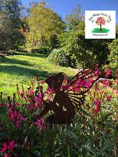 Rusty metal fairy stake garden sculpture decor ornament fairies