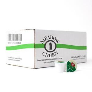Meadow Churn Long Life Semi-Skimmed UHT Milk Pots | 150 Pots | BBE: 14/01/2022
