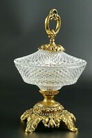 Vintage Cut Crystal Beautiful Brass Candy Dish with Lid