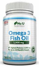 Omega 3 Fish Oil 1000mg High Strength DHA 365 Soft gels EPA
