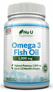 Omega 3 Fish Oil 1000mg High Strength DHA 365 Soft gels EPA