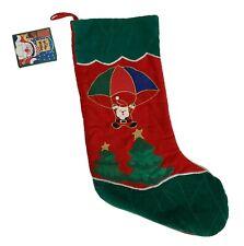 Christmas Stocking Santa parachute Velvet Appliques Red green Holiday Workshop